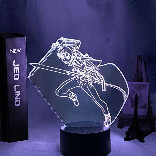 Luz De Noche LED Con luz De Ilusión 3D Anime Sword Art Online Muebles de personajes de Kirito Dormitorio Regalo de cumpleaños Decoración de interiores Lámpara de mesita de noche para niños y niñas