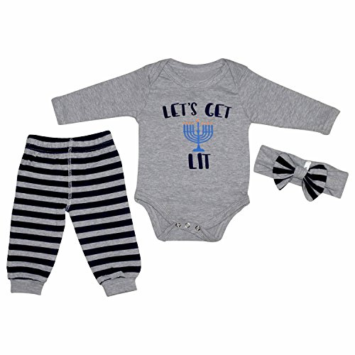 Unique Baby Girls Lets Get Lit Hanukkah Layette Set with Headband (6 Months) Grey
