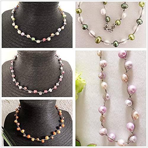 Damen kurze bunte Halskette aus natürlichen Süßwasser Perlen, Frauen bunte Perlen Kette, bunte Zuchtperlen Kette, Geschenk für Mama Frau Freundin