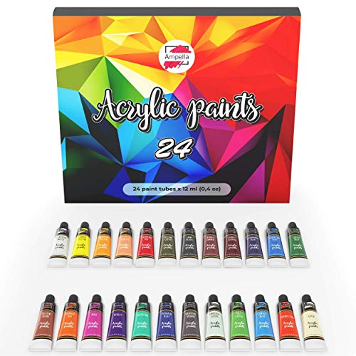 Acrylic Paint Set 24 Colors 12 ml Tubes of Acrylic Non Toxic Paints Sets Kits of Acrylic Art Craft Paint Palette for Painting for Kids Adults Beginners Artists