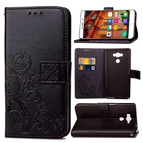 pinlu Funda para Elephone P9000 Función de Plegado Flip Wallet Case Cover Carcasa Piel PU Billetera Soporte con Trébol de la Suerte Negro
