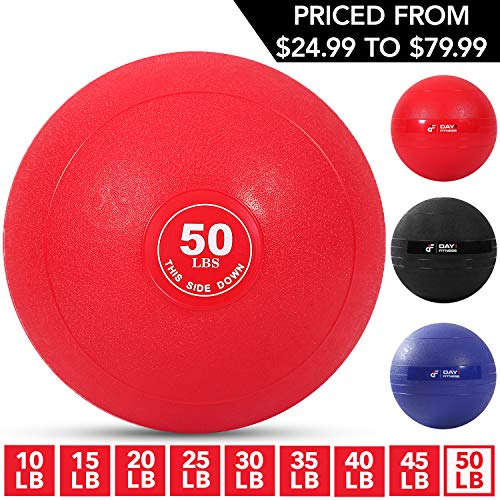 Weighted Slam Ball by Day 1 Fitness – 50 lbs RED - No Bounce Medicine Ball - Gym Equipment Accessories for High Intensity Exercise, Functional Strength Training, Cardio, CrossFit