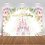 Mocsicka Pink Castle Birthday Backdrop Princess Floral Birthday Party Decorations Photo Backdrops Gold Dots Sweet Girl's Bday Photography Background (7x5ft)