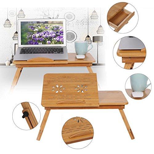 Yosoo Laptoptisch Bambus Laptop Ständer höhenverstellbar Notebooktisch Betttablett