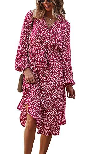 Awemeal Damen Elegant Blumendruck Strandkleider Langarm V-Ausschnitt Blusenkleider Abendkleider Freizeit Knielang Kleider Partykleid Mode Knopf Midi Kleid Sommerkleid Cocktailkleid (L, Rot)