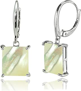 Sterling Silver Simulated Gemstone or Mother of Pearl Square Leverback Dangle Earrings