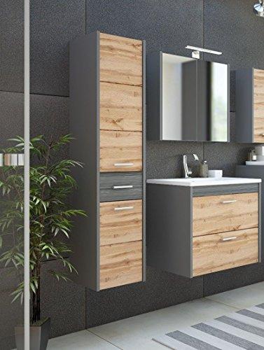 naka24 Badmöbel Set Ibiza 60 mit Waschbecken Keramik GRAU MATT/Eiche LED (Waschtisch, Spiegelschrank Hochschrank)