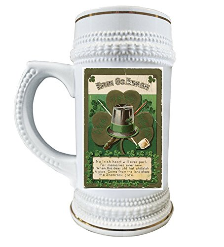 Ireland Beer Stein, Irish Green Beer Mug, St. Patrick's Day Impressive 22 oz Ceramic Glass Mugs With Gold Trim, Limited Edition Collector's Vintage Series, Celtic Lover Gifts For Christmas Birthday
