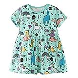 EU World Robes Bébé Fille, Tunique Fille Dinosaure Licorne Cartoon Imprimer Princesse Casual Coton Manche Courte Vert Pas Cher Ete Robe Fille Vêtements Enfant T-Shirt Fille 2 3 4 5 6 7 Ans