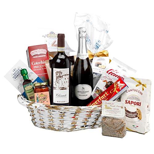 Speciale Italia - Canasta de regalos Sapori delle Feste, cesta de mimbre con panettone, champán y otros productos gastronómicos de producción artesanal [13 piezas]
