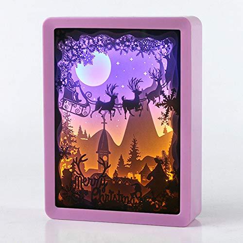 XZYP Papercut-Licht-Boxen, Weihnachten 3D Papercut Light Box, Aby Kinderzimmer Kinderschlafzimmer Wohnzimmer Nachtlicht