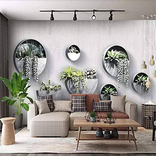 DZBHSCL 4D Behang muurschilderingen, modern modern minimalistisch halfronde bloempot kunstdruk fotobehang grote poster aan de muur decoratie voor huis woonkamer bank tv achtergrond slaapkamer 24in×48in 60cm(H)×120cm(W)