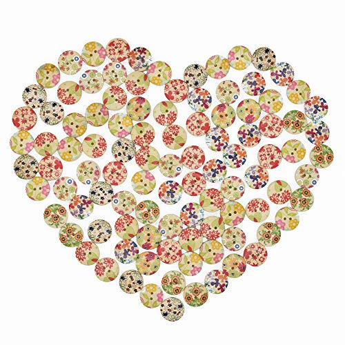 100Pcs Mixed Color Design Wooden Buttons in Bulk for Crafts Scrapbooking or Sewing and DIY Craft (20mm)