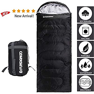 FUNDANGO Sleeping Bag Adults/Kids Lightweight Rectangular/Mummy Compact Waterproof Portable Cool Weather Season Sleeping Bags for Camping Backpacking Hiking