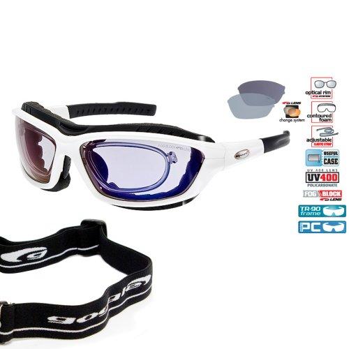 GOGGLE Verglasbare Brillenträger RX Multisportbrille Skibrille Sportbrille + polarisierende Wechselgläser + Band