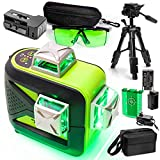 TANOX TX-93GR 3d Green Laser Level, Enhancement Goggles, Tripod Set – 3D 3x360 Green Beam Self-Leveling Laser Level & Protective Eyewear – Professional, High-Precision Leveler With 3-Way Charge