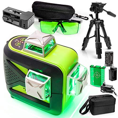 TANOX TX-93GR set met 3D-waterpas, veiligheidsbril en statief - waterpas, zelfnivellerend, groen, 3D, 3 x 360 - professionele high-precision lasers