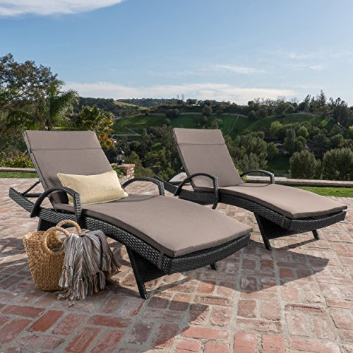 Olivia Patio Furniture ~ Outdoor Wicker Chaise Lounge Chair with Arms w/ Water Resistant Cushions (Set of 2) (Grey with Charcoal)