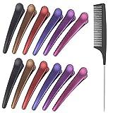 12 clips de sección + 1 peine de cola antiestático, pinzas de pelo profesionales multicolor para mujeres y niñas, herramienta de peluquería para salón de peluquería (color mezclado)
