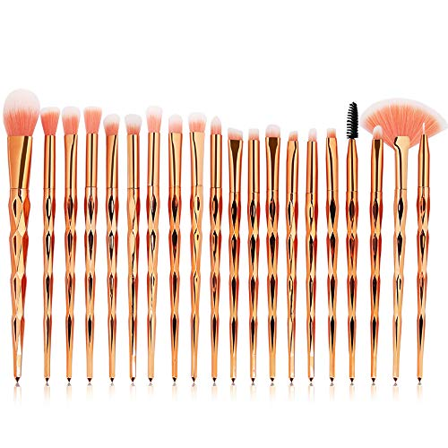 AODOOR 20Pcs Make Up Pinsel Set, Kosmetikpinsel Foundation Gesicht Pinsel Augen Pinsel Lippen Pinsel, Lidschatten Brush Erröten Gesichtspuder Pinsel, Professionelle Makeup Bürsten Schminkpinsel Set