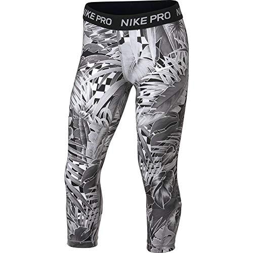 Nike Kids Girl's Pro Printed Capris (Little Kids/Big Kids) Atmosphere Grey/Black/White MD (10-12 Big Kids)