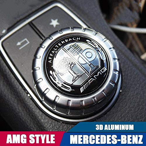 L&U Logo Decal Car Control AMG Stile Interni Multimedia Sticker Badge Decorazione per Mercedes-Benz, 29 Millimetri,Black And White Tree