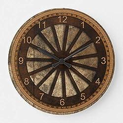 McC538arthy 12 Inch Wooden Clock, Wagon Wheel WoodLook Clock Farmhouse Wall Decor for Kitchen, Living Room, Bedroom, Office