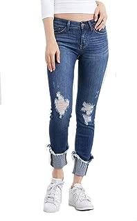 Judy Blue Sophie Dark Wash! Crop Destructed Deep Cuff Relaxed Fit Jean