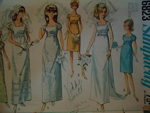 Simplicity 6823 Empire Waist Square Neck Soft Gathered Fairly Slim Line Dress with Detachable Train, Back Zip, Long or Short Puff Sleeves and Trim Options Wedding Dress Sewing Pattern