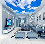 Fifikoj Custom Ceiling Wallpaper Blue Sky and White Clouds Murals for The Living Room Bedroom Ceiling Background Wall Mural Wallpaper-200x100cm