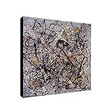 Jackson Pollock Number 18 - Lienzo decorativo enmarcado (40,6 x 40,6 cm), diseño abstracto