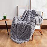Cozy Bliss Luxury Super Soft Striped Faux Fur Throw Blanket for Couch,60'x 80' Grey Marl, Warm Milky Plush Blanket for Sofa Bed Living Room Bedroom (Stripe-Grey Marl)
