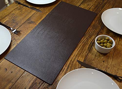 Giftag Artisan bruin bonded lederen tafelloper mat eetkamer, 60cm x 27cm made in UK