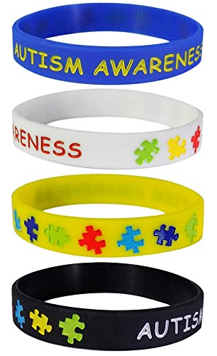 Max Petals 4 Autism Awareness Silicone Wristbands Blue, Yellow, Black and White Adult Size (4 Pack)