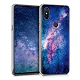 kwmobile Hülle kompatibel mit Xiaomi Mi Mix 3 - Handy Hülle Handyhülle - Backcover Hardcover Cover Schutzhülle - Galaxie Sterne Rosa Pink Dunkelblau