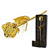 mikamax - Golden Rose 24K - Rosa D'oro - 24 Karat - Con Certificato di Autenticità - Confezione Regalo Nera - 32 x 5 x 11 cm - Rosa Placcata Oro 24K - Eterna Rosa - Perfect Gift Valentine