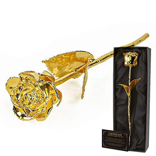 mikamax – 24K Gold Rose – Rose en Or – Une vraie Rose Trempée Dans d'or 24 carats - Golden Rose - Avec Certificat d'Authenticité – Dimensions de la rose: 28 – 30 cm - Coffret Cadeau Noir: 32 x 5 x 11 cm