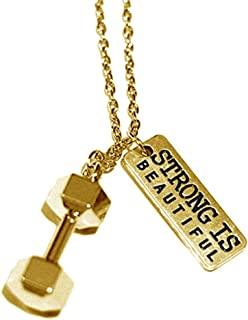 """SENFAI Weightlifting Barbell Dumbbell Pendant Necklace for Fitness Fans 18"""" 3 Tone"""