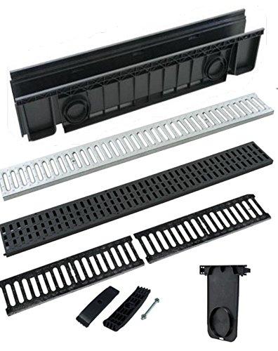 Canaleta de desagüe de ABS, color negro Con 2 rejillas de hierro fundido 100 x 20 cm H 15