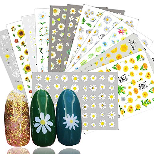 Flowers Nail Art Stickers Decals Nail Supplies 12 Sheets Sunflower Daisy Nail Sticker for Design Decoration Sunflower 3D Self-Adhesive Decals for Nail Manicure Design