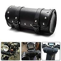 ユニバーサルオートバイフォークバッグハンドルバーバッグ防水ツールバッグ取り付けストラップラウンドストレージバッグ(ブラック)