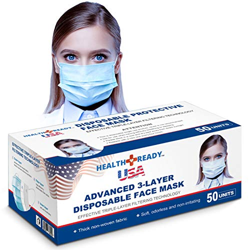 HealthReady USA - ASTM Level 2 PFE Filters Over 98% Proven by Nelson Labs USA Advanced 3-Ply Disposable Face Masks, 50 Pack