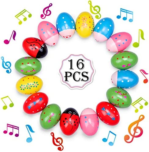 Geefuun 16 PCS Easter Wooden Eggs Shakers Musical Instruments Decorations Percussion Maracas product image