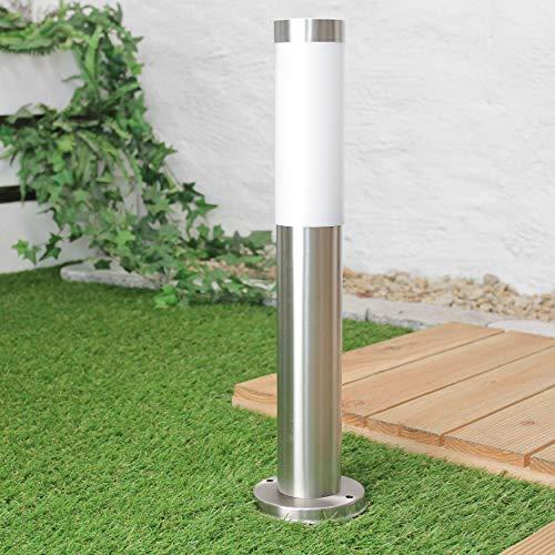 Kleine Pollerleuchte Edelstahl H:45cm IP44 in Silber blendarmes Licht Wegeleuchte Gartenlampe außen