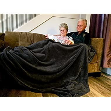 Higher Comfort Oversized Luxuriously Soft Throw Blanket - Rich Black - 60  x 72  - Perfect as All-Season(s) Couch Blanket or Bed Throw