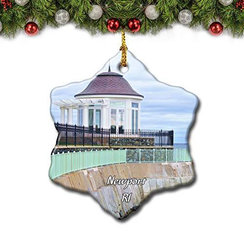 Umsufa Newport Cliff Walk Rhode Island USA Christmas Tree Ornament Travel Gift Souvenir 3 Inch Porcelain Double Side