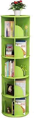 Libreria de Esquina giratoria de 360 ° para estantes de 5 Niveles, Escritorio pequeño para Sala de Estar Rack de Almacenamiento Multifuncional (Color : Green)