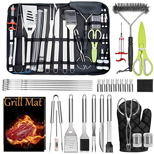 Leonyo Grilling Accessories 32PCS in Case, Professional Portable BBQ Grill Utensil Set for Kitchen Outdoor Cooking Camping Grilling Smoking, Great Gift for Men Women, Heavy Duty & Dishwasher Safe