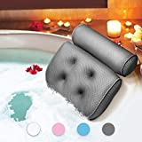 ESSORT Bathtub Pillow, Large Spa 3D Air Mesh Bath Pillow, Luxury Comfortable Soft Bath Cushion Headrest, for Head Neck Shoulder Support Backrest, Fits Any Size of Tubs, Jacuzzi (Gray)