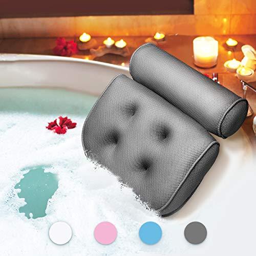 Essort Badewannenkissen,Komfort badewanne kopfkissen mit Saugnäpfen, badewanne nackenpolste für Home Spa Whirlpools, Grau Kopfstütze (38 x 36 x 8.5 cm)